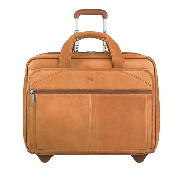 "Solo Walker Leather Rolling Case for 15.6"" Laptops, Tan"