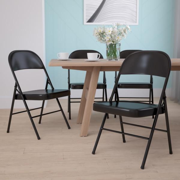 Flash Furniture Hercules Double-Braced Metal Folding Chairs, Set Of 4 Folding Chairs, Black