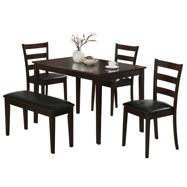 Monarch Specialties Eva Dining Table With Bench And 3 Chairs, Cappuccino