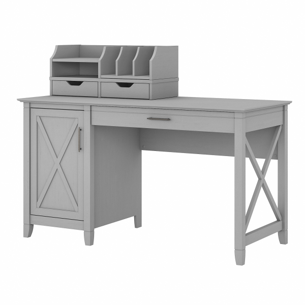 Bush Furniture Key West 54 W Computer Desk With Storage And Desktop Organizers, Cape Cod Gray, Standard Delivery