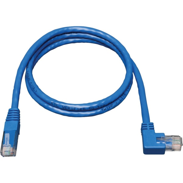 Tripp Lite 10ft Cat6 Gigabit Molded Patch Cable RJ45 Right Angle to Straight M/M Blue 10' - Category 6 for Network Device - 10ft - 1 x RJ-45 Male Netw