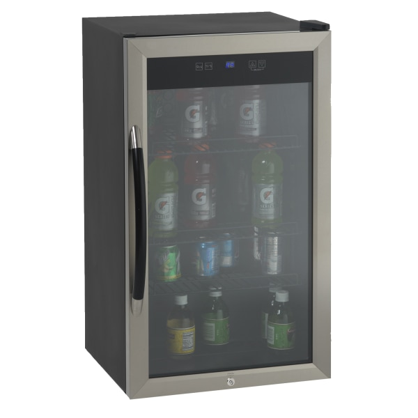 Avanti 3.0 Cu Ft Showcase Beverage Cooler Refrigerator, Black/Stainless Steel