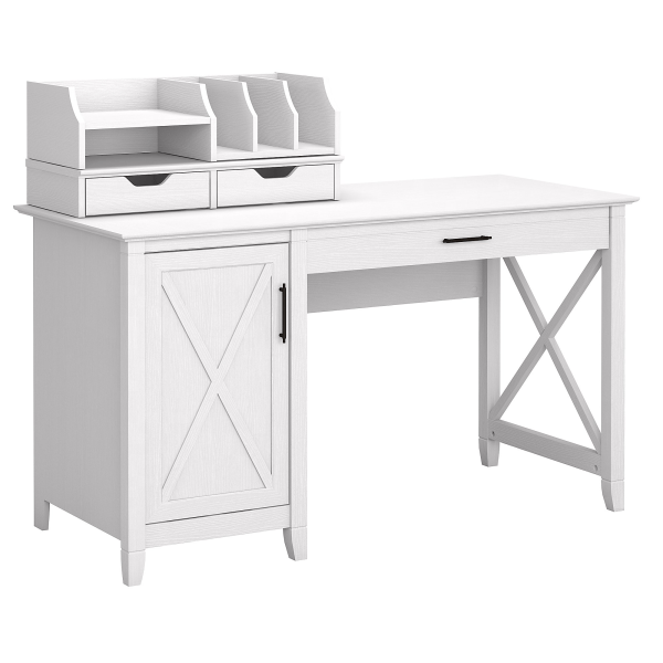 Bush Furniture Key West 54 W Computer Desk With Storage And Desktop Organizers, Pure White Oak, Standard Delivery