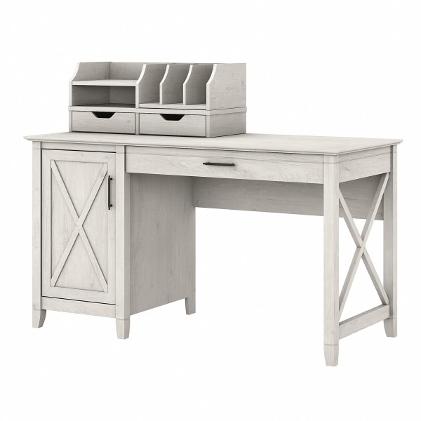 Bush Furniture Key West 54 W Computer Desk With Storage And Desktop Organizers, Linen White Oak, Standard Delivery