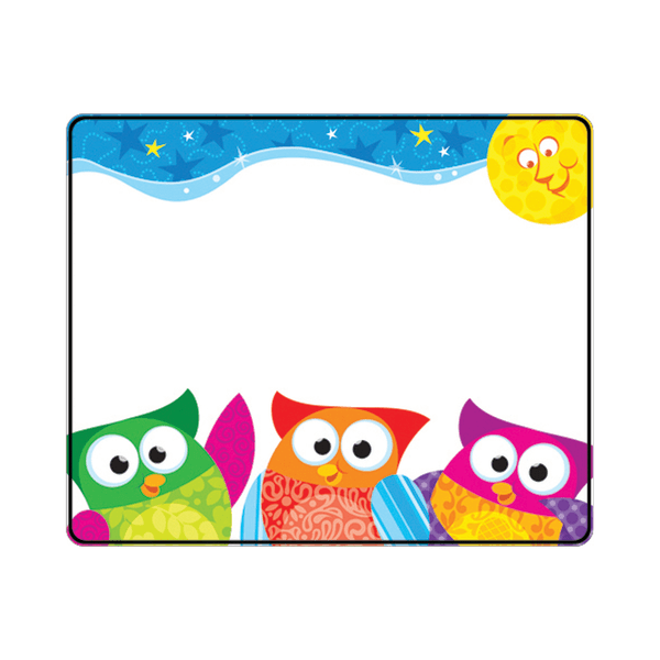 TREND Name Tags, 3  x 2 1/2 , Owl-Stars!, 36 Tags Per Pack, Set Of 6 Packs