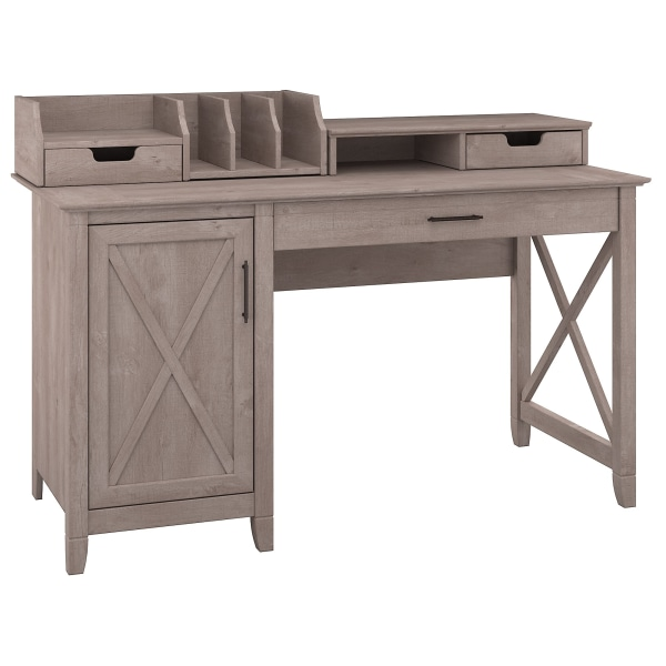 Bush Furniture Key West 54 W Computer Desk With Storage And Desktop Organizers, Washed Gray, Standard Delivery