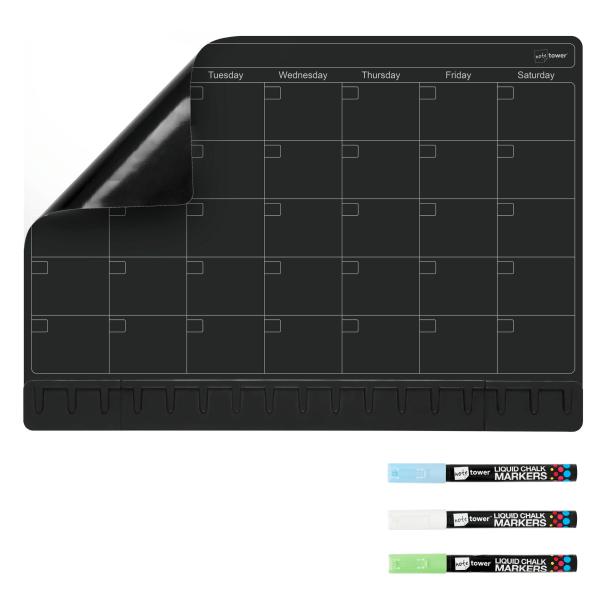 Note Tower Magnetic Dry-Erase Whiteboard Refrigerator Calendar Board, 12  x 17 , Black