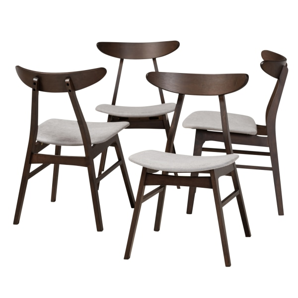 Baxton Studio 10466 Mid-Century Modern Dining Chairs, Light Gray, Set Of 4 Chairs