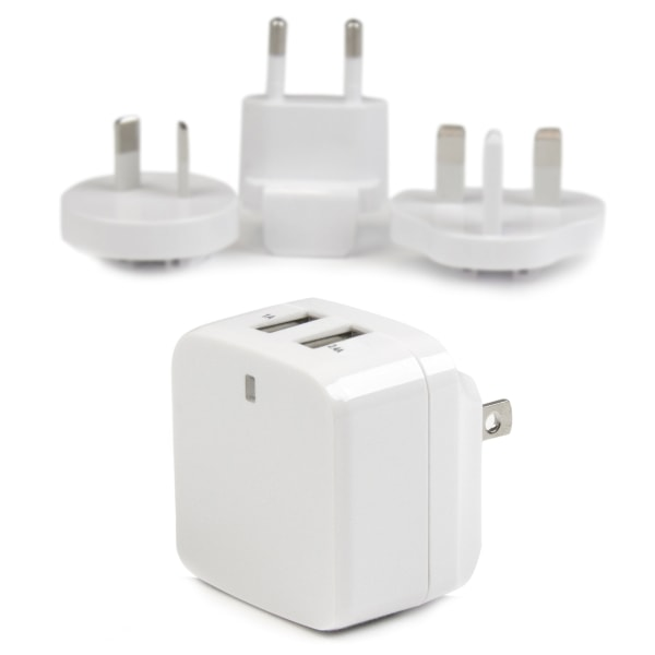 StarTech.com Travel USB Wall Charger - 2 Port - White - Universal Travel Adapter - International Power Adapter - USB Charger - 1 Pack - 120 V AC, 230