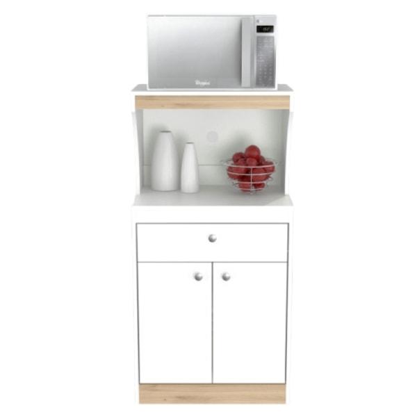 """Inval Galley 2-Door Microwave/Kitchen Storage Cabinet, 47""""H x 23""""W x 16""""D, White/Vienes Oak"""