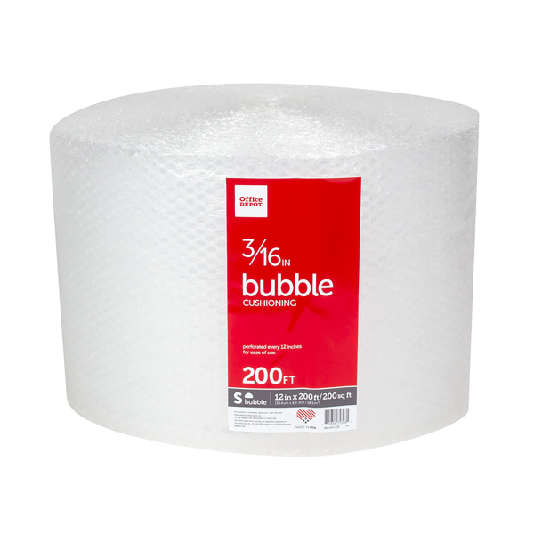 """Office Depot? Brand Small Bubble Wrap, 3/16"""" Thick, Clear, 12"""" x 200'"""