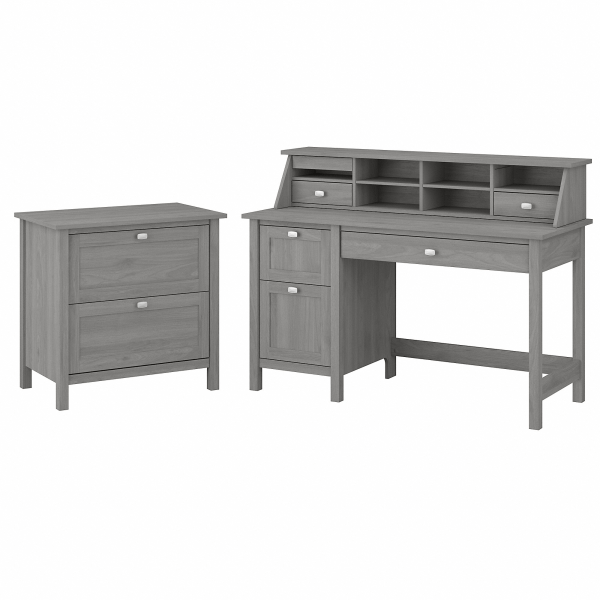 Bush Furniture Broadview 54 W Computer Desk With Drawers, Desktop Organizer And Lateral File Cabinet, Modern Gray, Standard Delivery