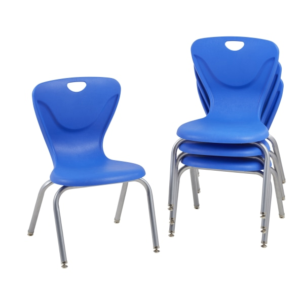 Factory Direct Partners Contour Chairs, Blue, Pack Of 4 Chairs