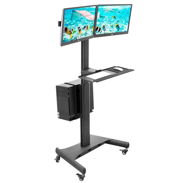 Mount-It MI-7986 Adjustable Mobile PC Workstation For Dual Monitors, 45 H x 28-1/2 W x 8 D, Black