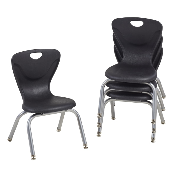 """Factory Direct Partners 12"""" Contour Chairs, Black, Pack Of 4 Chairs"""