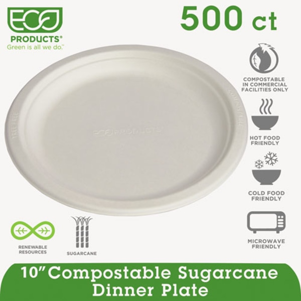 Eco-Products Sugarcane Plates - 10  Diameter Plate - Sugarcane Fiber Plate - Microwave Safe - 500 Piece(s) / Carton