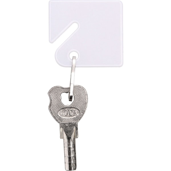 Sparco Square Key Tags - 4.75  Length x 1.40  Width - Square - Hook Fastener - 20 / Pack - Plastic - White