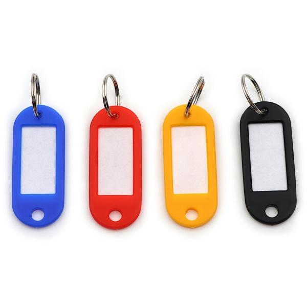 CARL Split Ring Key Tags - 3  Length x 3  Width - Ring Fastener - 20 / Pack - Plastic - Assorted
