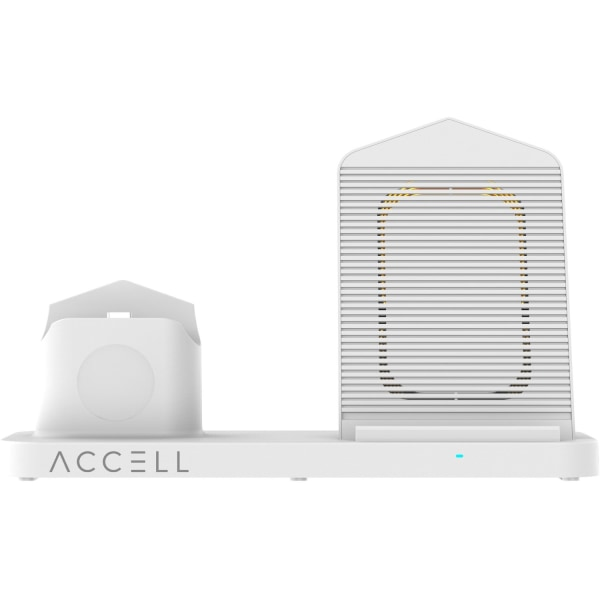 Accell 3 in 1 Fast Wireless Charger for smartphone, Apple watch, and Airpods - 5 V DC Input - Input connectors: USB