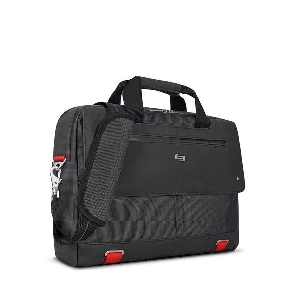 Solo Mission Briefcase For 15.6  Laptops, Black/Red