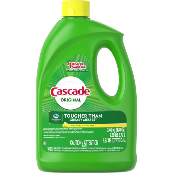 Cascade Gel Dishwasher Detergent - Gel - 120 oz (7.50 lb) - Lemon Scent - 4 / Carton - White