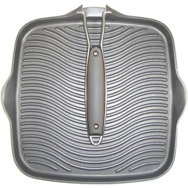 Starfrit 10  x 10  Grill Pan with Foldable Handle - 10  Length 10  Width Grill Pan - Cast Aluminium - Grilling, Cooking - Dishwasher Safe - Oven Safe