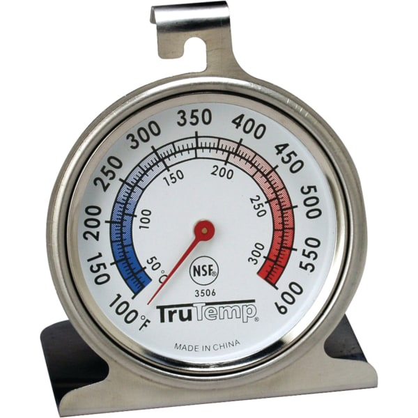 TruTemp Oven Dial Thermometer - Hanging Hole, Built-in Stand - Red