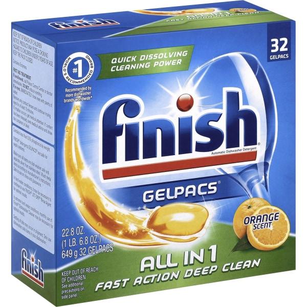 Finish Dishwasher Gel Packs - Gel - 1.3 fl oz (0 quart) - Orange Scent - 32 / Box - 256 / Carton - Orange