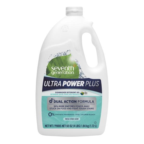 Seventh Generation Ultra Power Plus Dishwasher Gel, Fresh Citrus Scent, 65 Oz Bottle