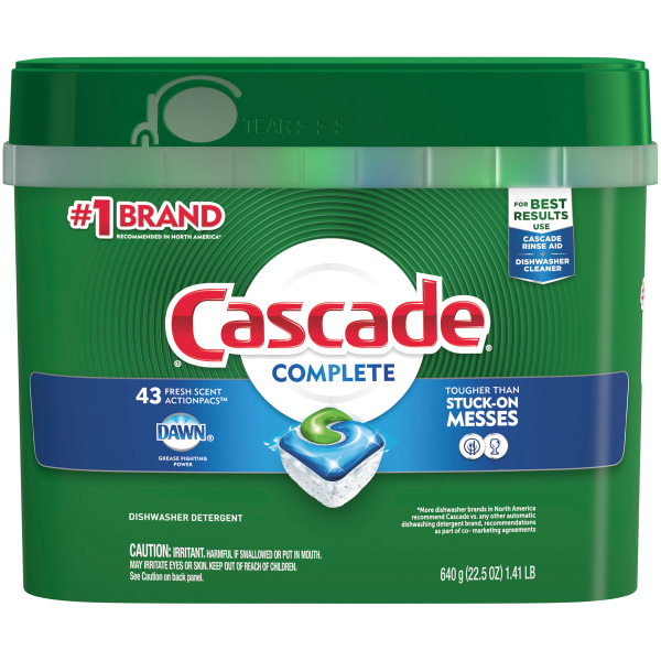 Cascade Complete ActionPacs Dishwasher Detergent Pods, Fresh Scent, Box Of 43