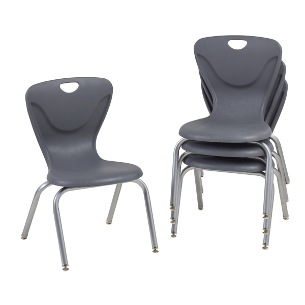 Factory Direct Partners Contour Chairs, Gray, Pack Of 4 Chairs