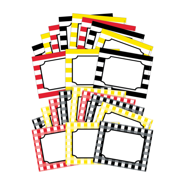 Barker Creek Name Tags, 3 3/4  X 2 1/2 , Buffalo Plaid/Wide Stripes, 45 Name Tags Per Pack, Case Of 2 Packs