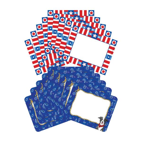 Barker Creek Name Tags, 3 3/4  X 2 1/2 , Western/Americana, 45 Name Tags Per Pack, Case Of 2 Packs
