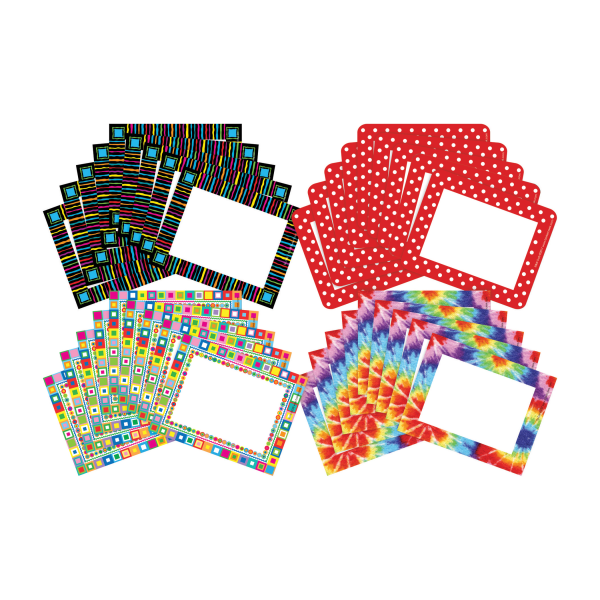 Barker Creek Name Tags, 3 3/4  x 2 1/2 , Retro/Tie Dye/Neon/Dot, 45 Name Tags Per Pack, Case Of 4 Packs
