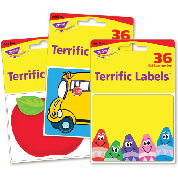 Trend Terrific Labels Classroom Designs Name Tags - Self-adhesive Adhesive - Rectangle - Multicolor - 108 / Pack