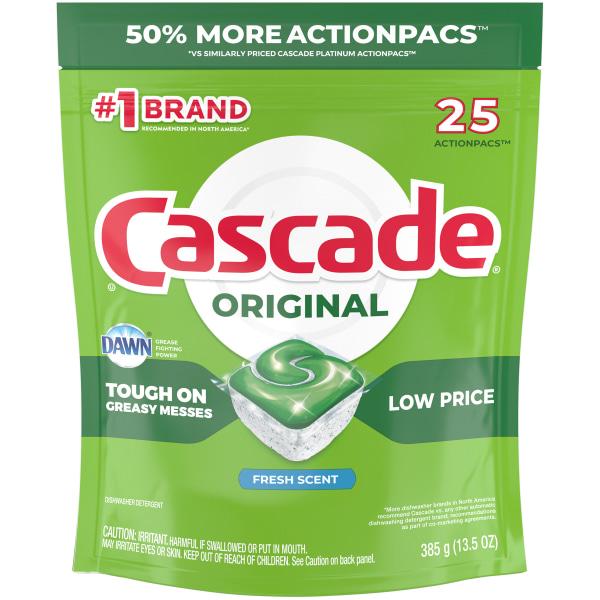 Cascade ActionPacs Dishwasher Detergent Pods, Fresh Scent, 25 Per Pack, Case Of 5 Packs