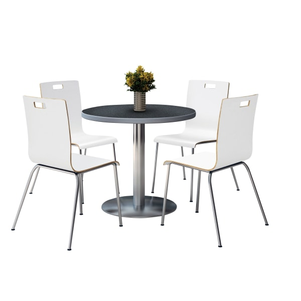 KFI Studios Jive Round Pedestal Table With 4 Stacking Chairs, 29 H x 36 W x 36 D, White/Graphite Nebula