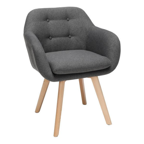OFM 161 Collection Mid Century Modern Tufted Accent Chairs With Arms, Dark Gray/Beechwood, Set Of 2