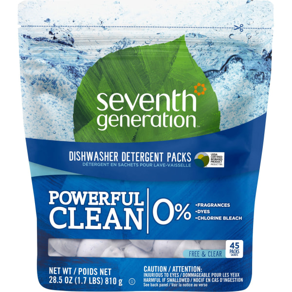 Seventh Generation Dishwasher Detergent - Free & Clear Scent - 45 / Packet - 360 / Carton