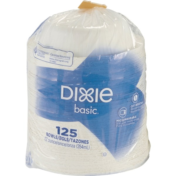 Dixie Basic Lightweight Disposable Paper Bowls by GP Pro - 12 fl oz Bowl - Paper - Microwave Safe - White - 125 Piece(s) / Pack