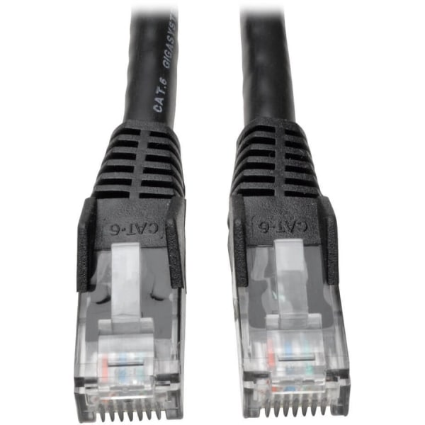 Tripp Lite 15ft Cat6 Gigabit Snagless Molded Patch Cable RJ45 M/M Black 15' - 15 ft Category 6 Network Cable for Network Device - First End: 1 x RJ-45