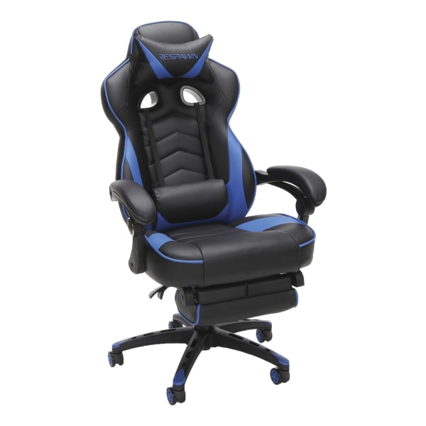 Respawn 110 Racing-Style Bonded Leather Gaming Chair, Blue/Black