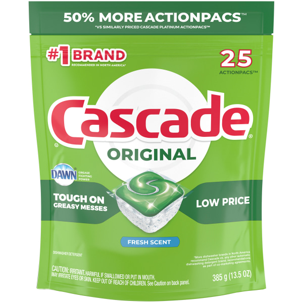 Cascade ActionPacs Dishwasher Detergent Pods, Fresh Scent, Pack Of 25