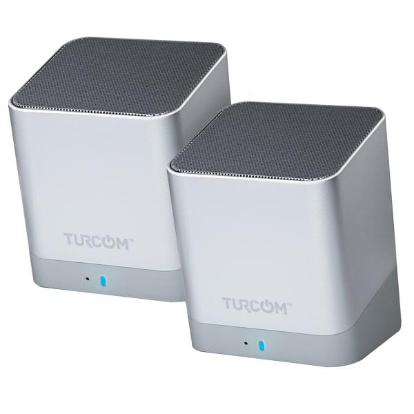 Turcom Wireless Bluetooth 2-Channel Mini PC Speaker Set, Silver, TS-459