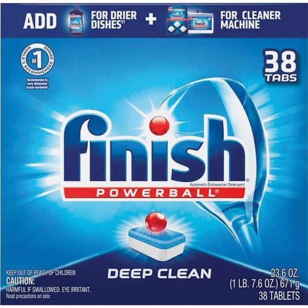 Finish Powerball Dishwasher Tabs, 23.6 Oz, 38 Tabs Per Box, Case Of 8 Boxes