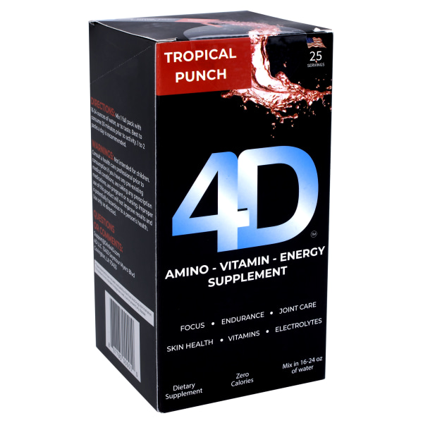 4D Clean Energy Dietary Energy Supplement Tropical Punch, 0.19 Oz, Pack Of 25 Supplements