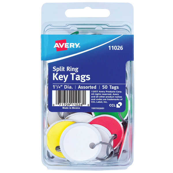 Avery Metal Rim Key Tags, 1 1/4 , Pack Of 50, Assorted Colors