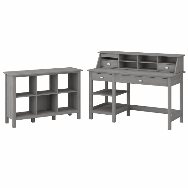 Bush Furniture Broadview 54 W Computer Desk With Shelves, Desktop Organizer And 6-Cube Bookcase, Modern Gray, Standard Delivery