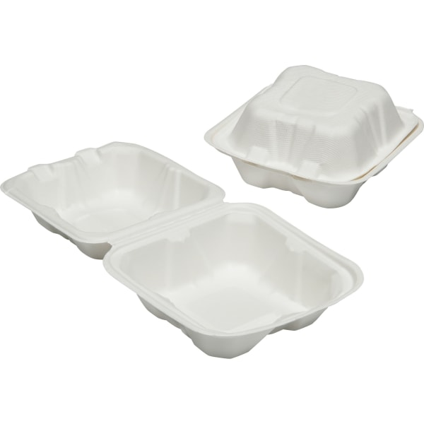 SKILCRAFT Hinged Lid Square Food Tray - Food Container - Wood Pulp - Microwave Safe - White - 400 Piece(s) / Carton - TAA Compliant