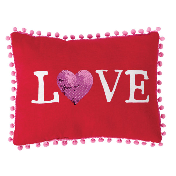 Amscan Love Valentine's Day Pillows, 9  x 12 , Red, Set Of 2 Pillows